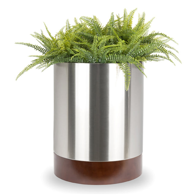 Knox Cylinder Planter with Wood Base - Indoor Modern Planter - Round, Metal, Silver, Walnut Finished Base