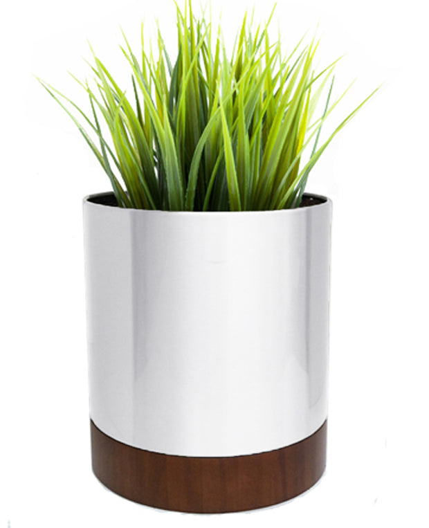 Knox Mod Cylinder with Wooden Base - Round, Stainless Steel Plant Container with Brushed Finish - White, Metal Planters