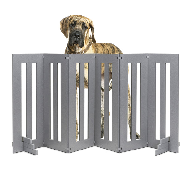 Backyard Outdoor Pet Gate - Freestanding Pet Barrier - Heavy Duty, Versatile, All-Weather Pet Gate, Available in Gray and White