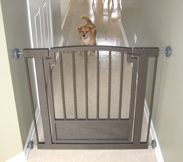 Royal Weave Pressure Mounted Dog Gate Expandable Pet Barrier with Door