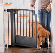 Royal Weave Tension Metal Dog Gate with Swing Door in Black
