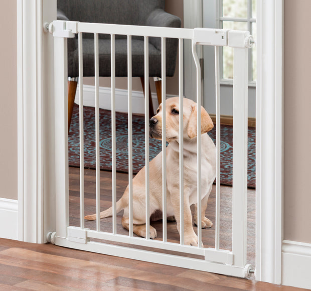 Isabelle Pressure Mounted Dog Gate in White with Swinging Door NMN Designs