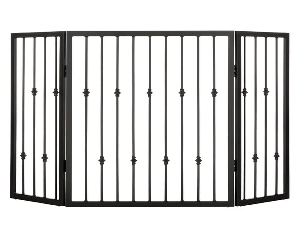Emperor Rings Freestanding Dog Gate - Pet Barrier - Great for Hallways, Stairways, Large Entry Way - Black Metal Freestanding Pet Gate