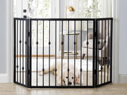 Emperor Rings Freestanding Dog Gate - Pet Barrier - Great for Hallways, Stairways, Large Entry Way - Black Metal Shown with dog