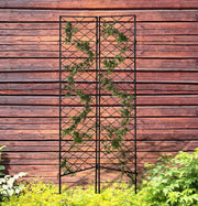 Katerina 2 piece garden metal trellis screen in black