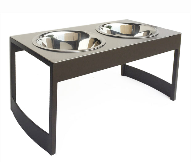Indus Steel Dog Diner Mid Century Modern  Elevated Double Dog Water and Dog Food Bowl Stand mocha