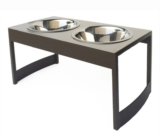 Indus steel dog diner mid century modern elevated dog food bowl stand mocha