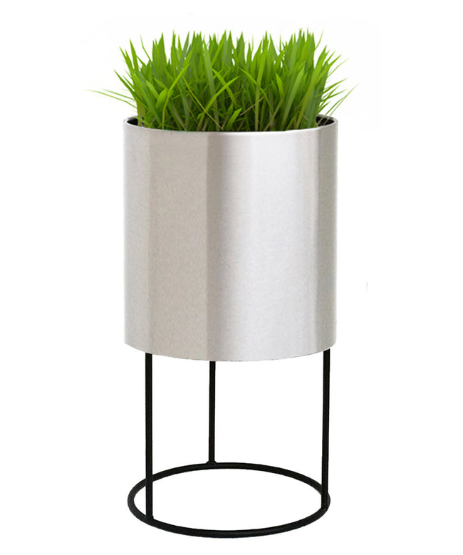 NMN Designs Knox Modern Cylinder Raised Planter with Stand Stainless Steel