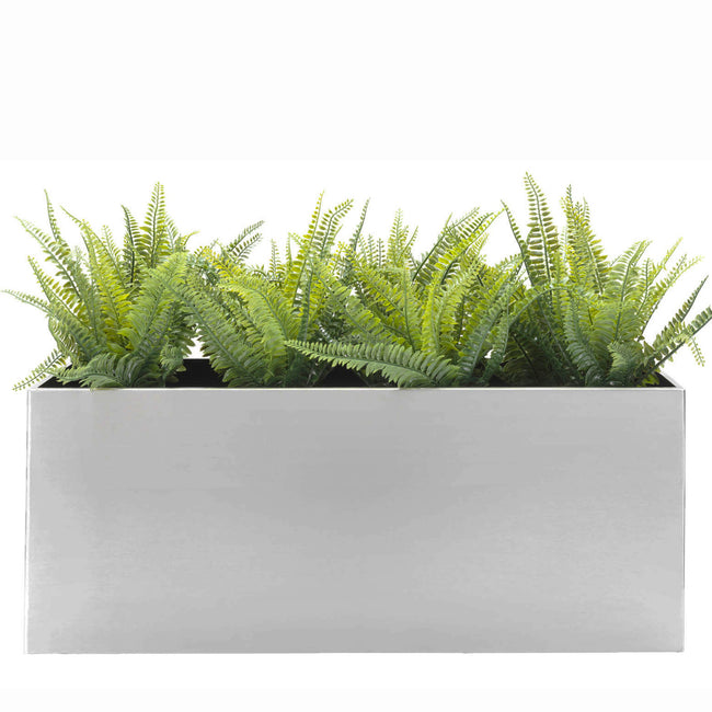 Madeira Rectangle Planter Box - Brushed Steel Finish - Aluminum Indoor and Outdoor Planter Box - Modern Planter