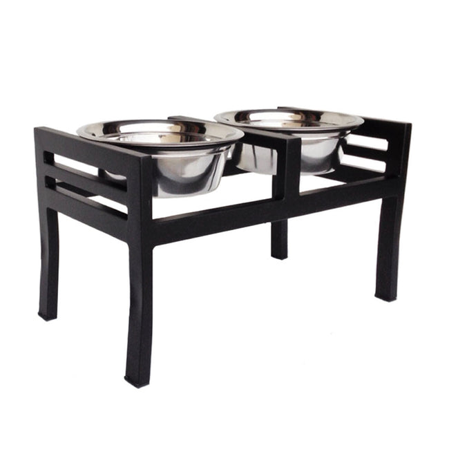 NMN Designs Moretti Double Diner Raised Dog Bowls Black