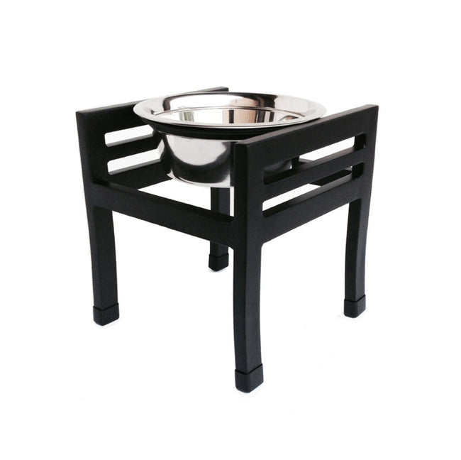 NMN Designs | Moretti Raised Dog Bowl Stand Single Bowl Black