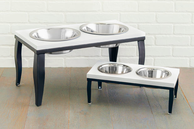 Noor Double Diner - Elevated Dog Bowl Set - Whitewashed Wood Top with Black Steel Base - 2 Sizes
