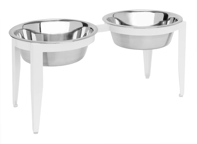 Vision Double Diner - Raised Dog Bowl Feeder - Elevated Dog Diner - Indoor, Outdoor Metal Dog Bowl Set - Black, White