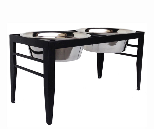 Chariot Double Diner - Pet Feeding Station - Modern Dog Bowl Set, Black Wrought Iron Metal, Raised Steel Dog Bowls