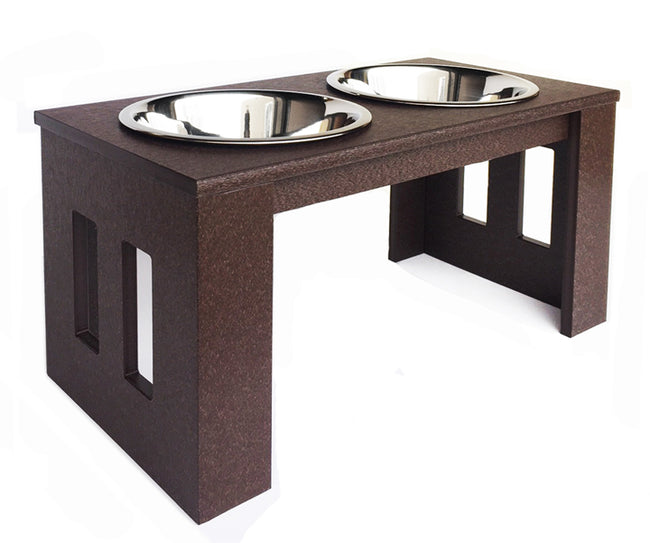 Juniper Outdoor Dog Diner - Raised Dog Feeder for Outdoors, All Weather Feeding Station, Made in USA
