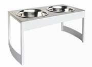 Indus steel dog diner white mid century modern raised dog food bowls NMN Designs Pets Stop