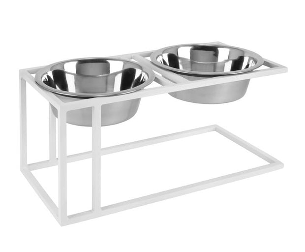 Cityline Raised Pet Bowl Feeder by NMN Designs - White Elevated Modern Dog Bowl, Indoor and Outdoor, Metal with Stainless steel bowls
