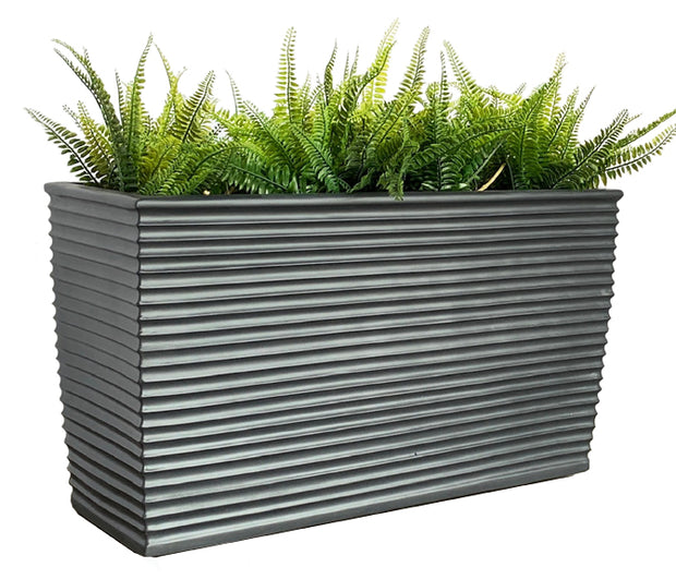 Winona Planter by NMN Designs - Large, Gray Fiberglass Planter, Rectangle, Suitable for Indoors, Outdoors