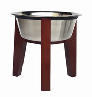 Henry Single Diner - Mid Century Modern Hardwood Raised Feeding Station for Dogs - Indoor Elevated Dog Food Bowl Stand Wood