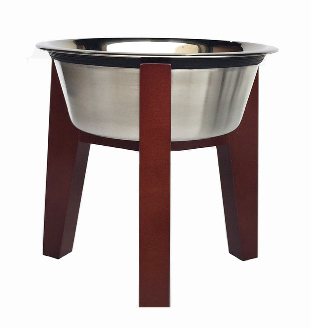 Henry Single Diner - Hardwood Raised Feeding Station for Dogs - Indoor Dog Feeder, Metal Pet Bowls