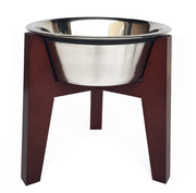 Henry Single Diner - Mid Century Modern Hardwood Raised Feeding Station for Dogs - Indoor Dog Feeder, Metal Pet Bowls