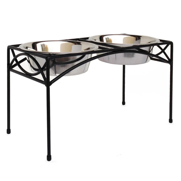 NMN Designs - Regal Double Bowl Dog Diner, Raised Pet Bowl Feeder, Pets Stop Elevated Pet Bowls, Black Metal