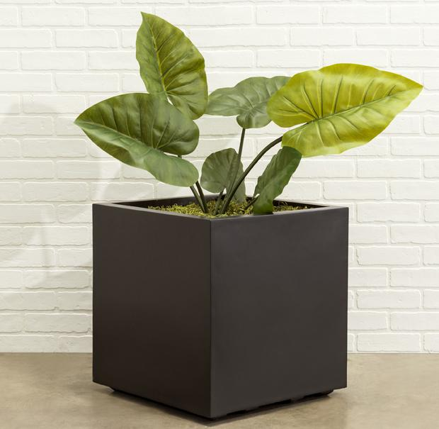 Seeley Cube Planter - Modern Indoor and Outdoor Fiberglass Planter Box, Square Planter, Small, Large, Extra Large, Includes Drainage Holes - White, Black, Gray