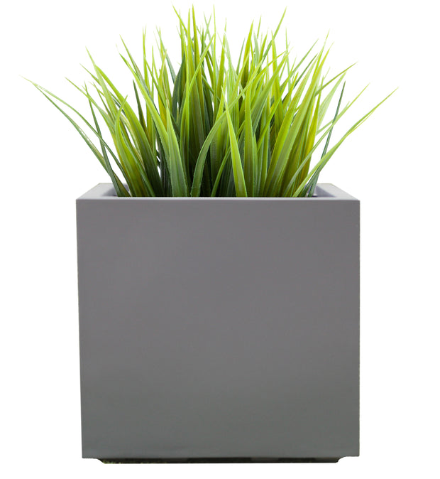 Seeley Cube Planter - Modern Indoor and Outdoor Fiberglass Planter, Drainage Holes