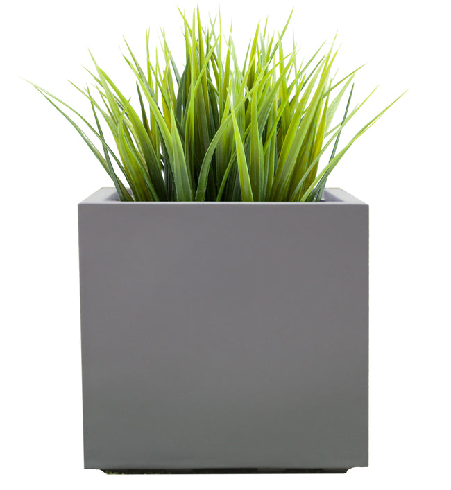 "Seeley Cube Planter - Modern Indoor and Outdoor Fiberglass Planter, Drainage Holes, 20""L x 20""W x 20""H"