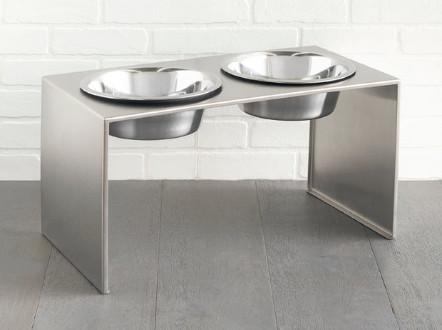 Slate Double Diner - Stainless Steel Elevated Dog Feeder - Modern Pet Bowl