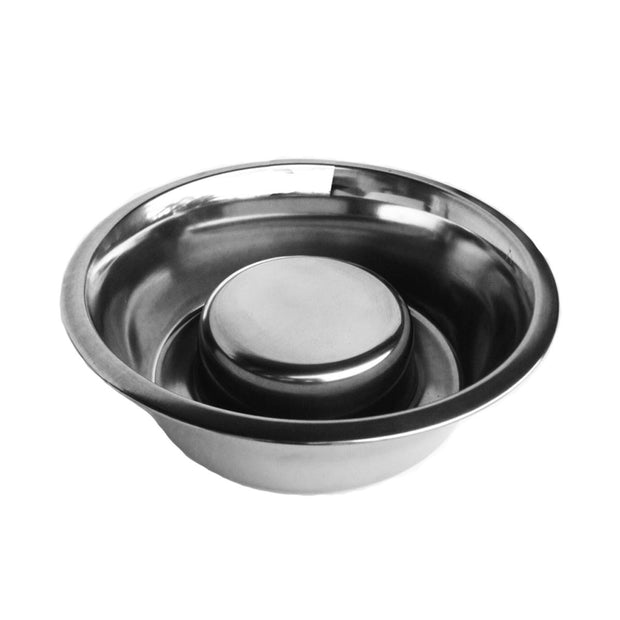 Slow Feeder Dog Bowl for Slow Eating Stainless Steel with Rubber Ring NMN Designs and Pets Stop