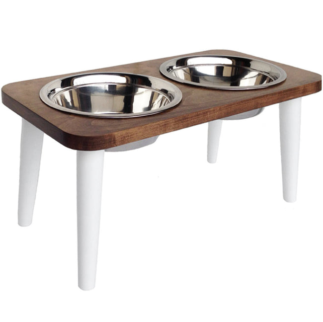 NMN Designs Southern Maple Elevated Dog Diner Double Hard Wood Stand