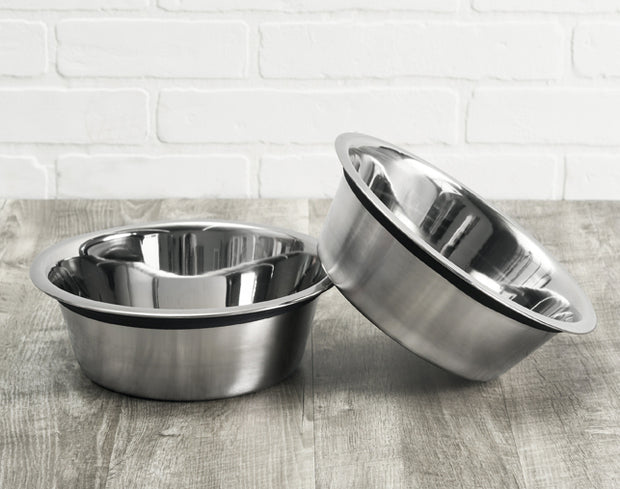 NMN Designs Stainless Steel Pet Bowls - Food Safe, Heavy Duty, Dishwasher Safe, Stainless Steel bowls to fit all size dog diners, Set of 2