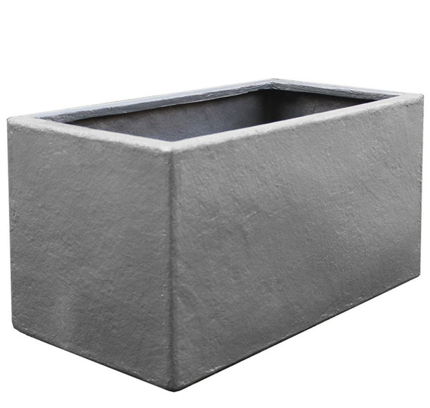 NMN Designs Thomas Planter - Rectangle, Gray Fiberglass Plant Container - Heavy Duty, Concrete Finish - Indoor and Outdoor Planter
