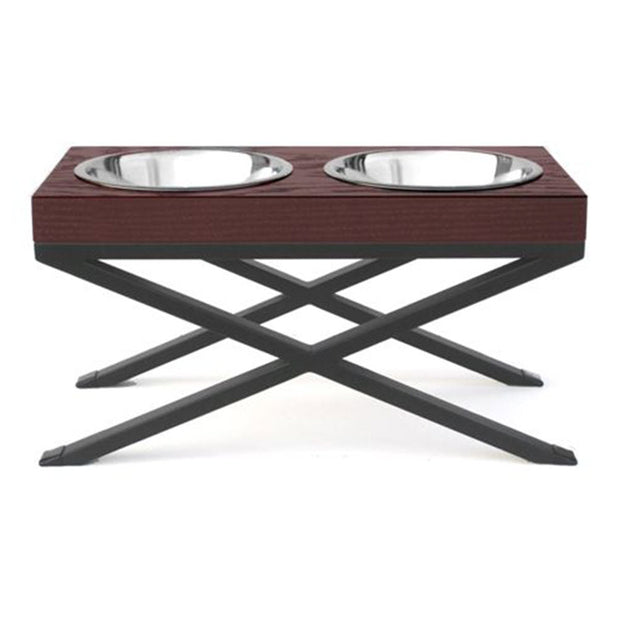 NMN Designs Woodsman Elevated Dog Bowls Diner Double