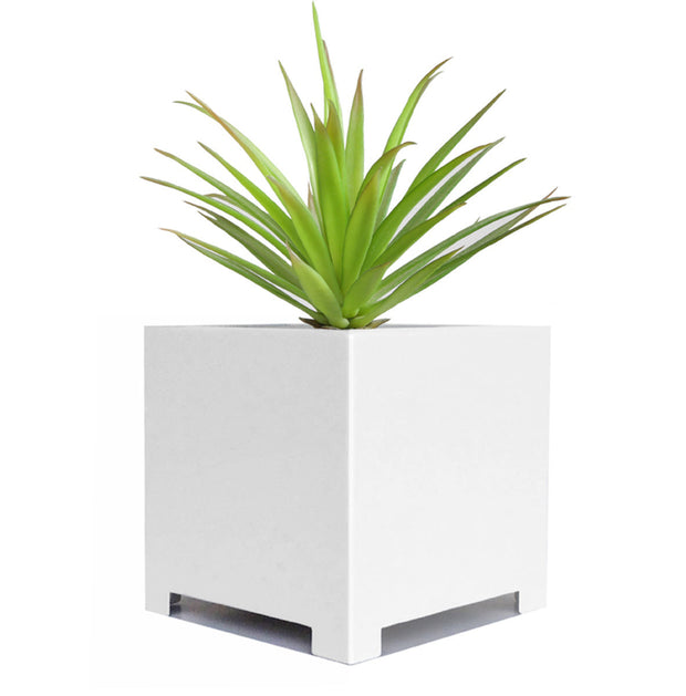 NMN Designs ALora Cube Planter White Square Metal for Succulents