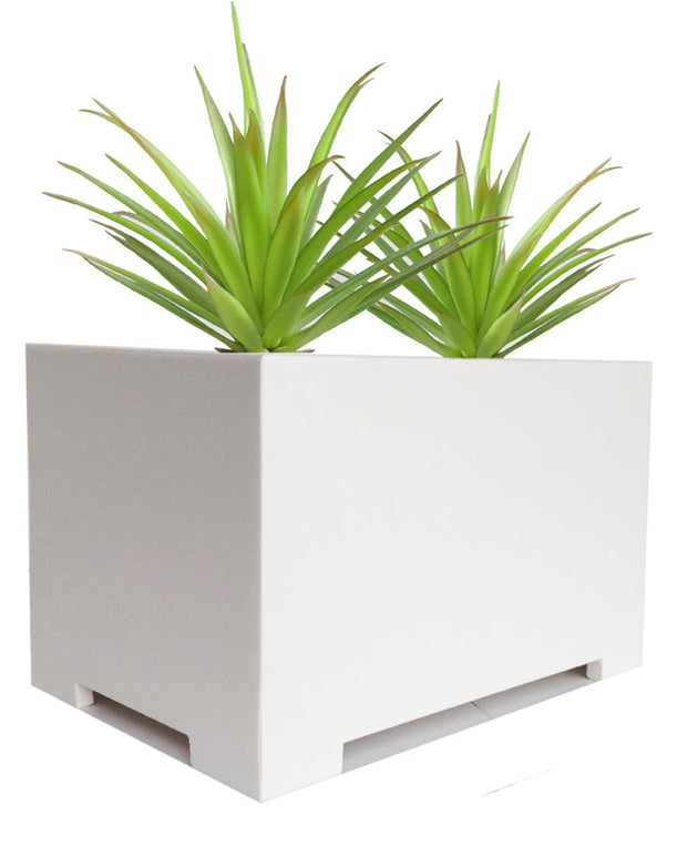 NMN Designs Eco Modern Rectangle Planter in White