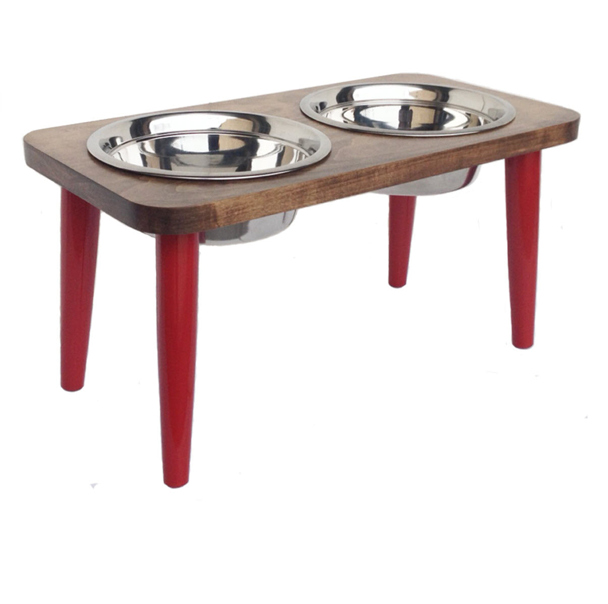 NMN Designs Elevated Dog Bowl Stand Double Raised Hardwood Red