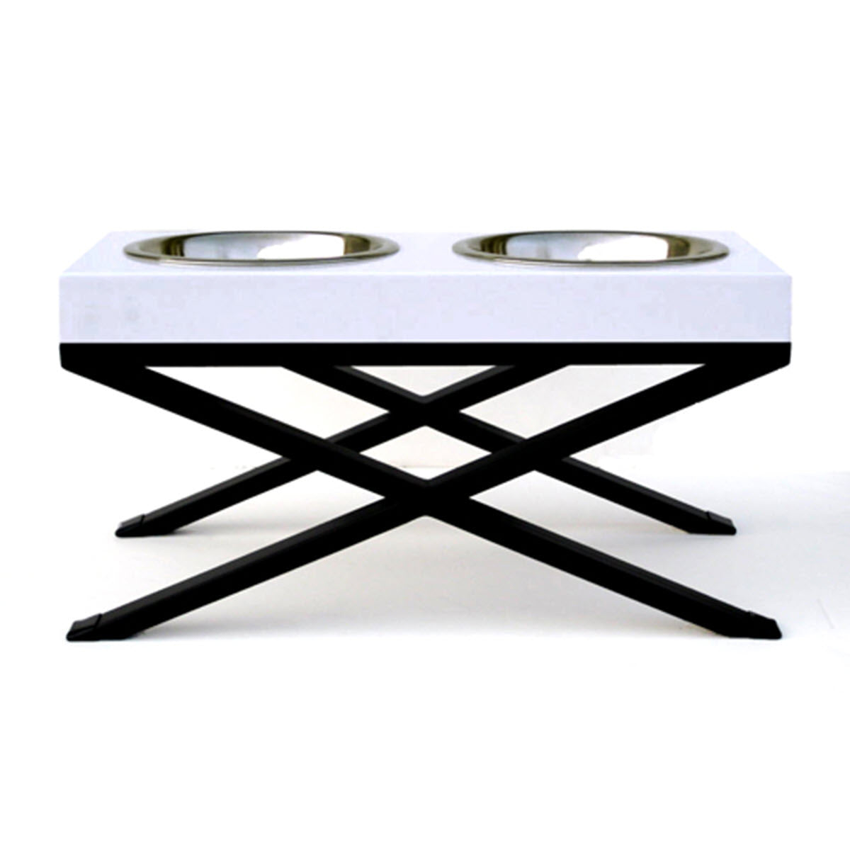 NMN Designs Woodsman elevated Dog Bowls double white