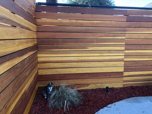 Oscillot cat containment system on wooden fence