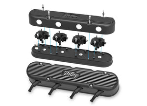 2-Pc LS Vintage Series Valve Covers - Satin Black Machined Finish - 241-172