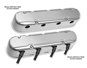 2-Pc LS Finned Valve Covers - Polished Finish - 241-181