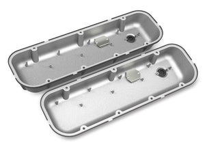 BBC Vintage Series Finned Valve Covers - Satin Black Machined Finish - 241-302