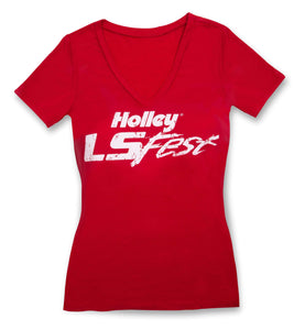 Holley LS Fest Ladies\' V-Neck T-Shirt - 10139-2XHOL