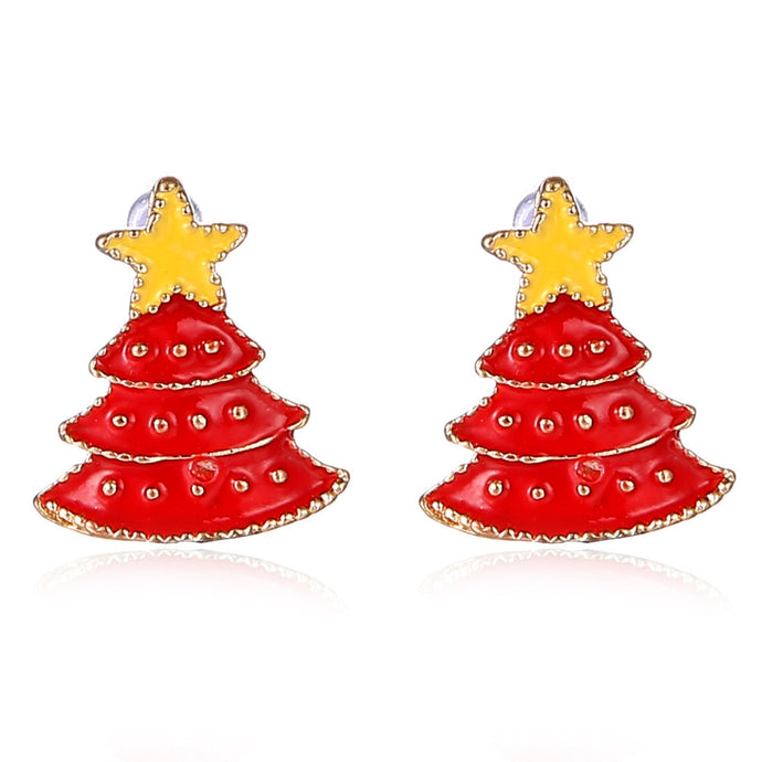 Red Christmas Tree Earrings
