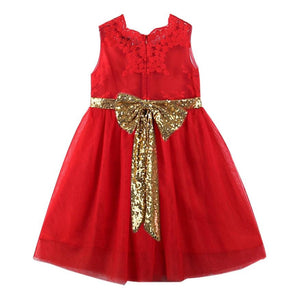 Kid's Gold Bow Christmas Dress