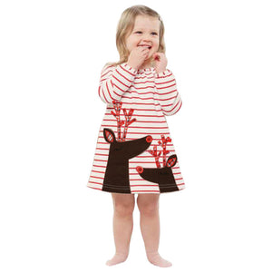 Kid's Striped Reindeer Dress