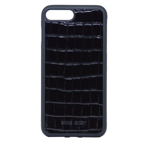 Black Croc iPhone 7 Plus & 8 Plus case - Savage Concept