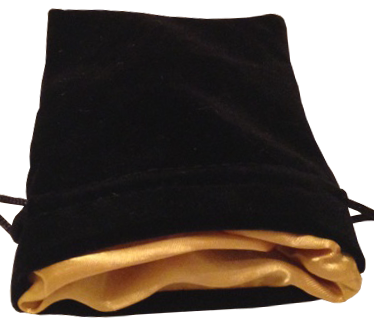 Dice Bag: Black Velvet Gold Satin Lined (Small)