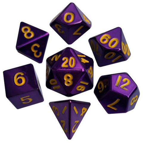 Purple Polyhedral Metallic Dice Set (7 count)